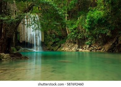 Beautiful waterfall Erawan National Park Kanjanaburi Thailand
