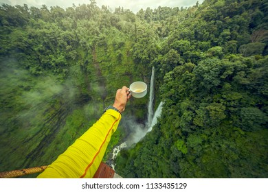 Beautiful waterfall.Tad Fan Waterfall in southern Laos.It is a place to visit the natural beauty.Mountain forest landscape.Top view,Aerial view