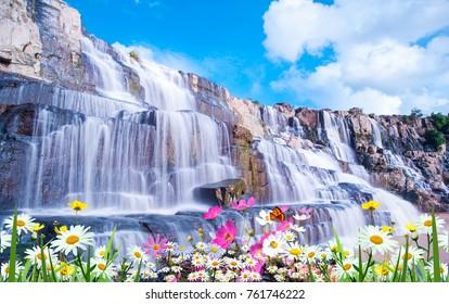 Beautiful waterfall with flowers