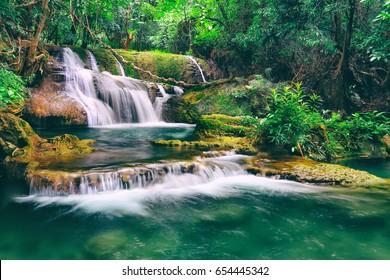 Beautiful waterfall in the forest, Huay Mae Kamin Waterfall, Kanchanaburi, Thailand.
