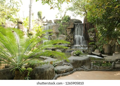 Beautiful waterfall garden in the temple of Wat Salaloi, Nakhon Ratchasima , Thailand.