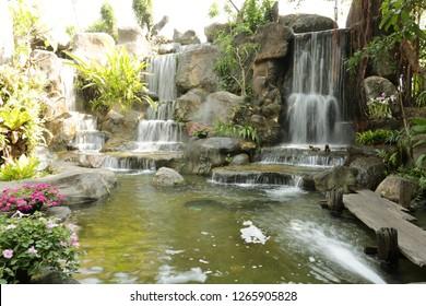 Beautiful waterfall garden in the temple of Wat Salaloi, Nakhon Ratchasima , Thailand.