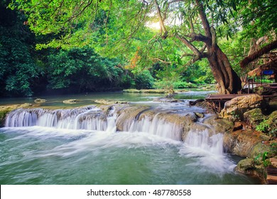 Beautiful waterfall in green forest in jungle at mountain, Saraburi, Thailand