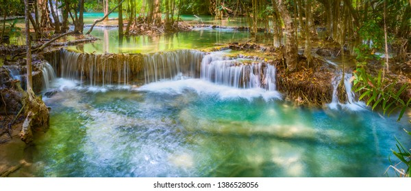Beautiful waterfall Huai Mae Khamin at Kanchanaburi Province in west Thailand. Panorama
