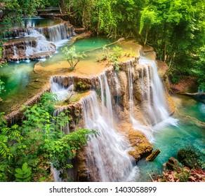 Beautiful waterfall Huai Mae Khamin at Kanchanaburi Province in west Thailand