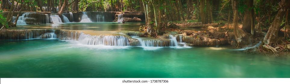 Beautiful waterfall Huai Mae Khamin at Kanchanaburi Province in west Thailand. Panorama