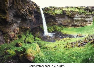 The beautiful waterfall in Iceland.