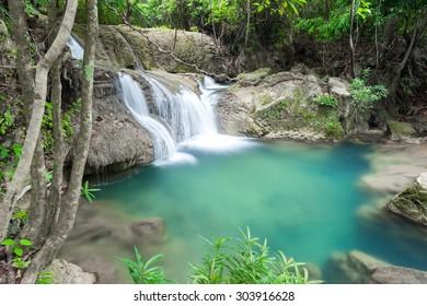 Beautiful Waterfall in Kanchanaburi (Huay Mae Kamin), Thailand