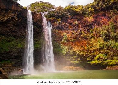 beautiful waterfall in Kauai Hawaii. Wailua Falls