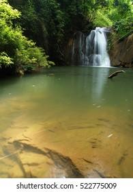 Beautiful waterfall at the Lam Khlong Ngu national park in Kanchanaburi, Thailand.
