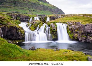 Beautiful waterfall landscape at Kirkjufell mountain, Snaefellsnes peninsula, Iceland