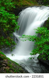 A beautiful waterfall and leaves in tropical forest.