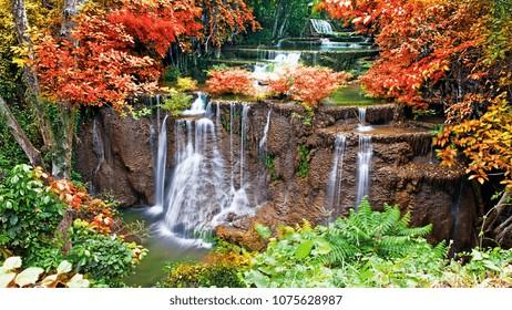 beautiful waterfall mountain