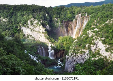 Beautiful waterfall in the National park Plitvice in Croatia. The area consists of several lakes and waterfalls.