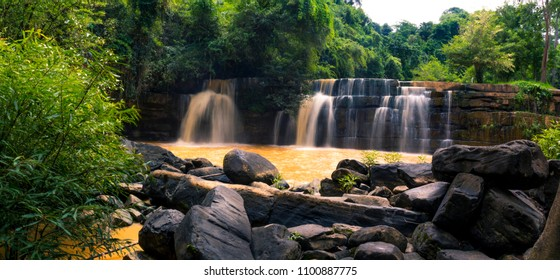 Beautiful waterfall in natural of Si Dit Waterfall in khao kho national park at phetchabun province,thailand.