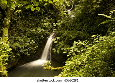 Beautiful waterfall in nature. The cotton like flow of the water gives a very peaceful and natural look with intact nature around. The green foliage leaves room for your copy.