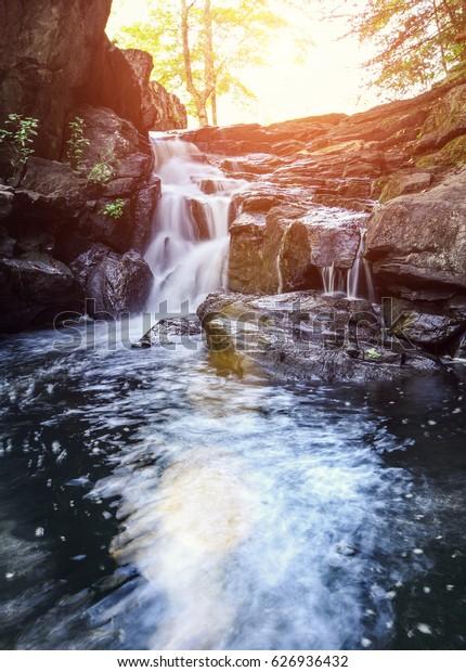 Beautiful waterfall in New England