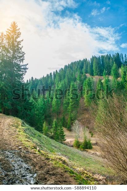 Beautiful waterfall on Carpathian mountains, Western Ukraine