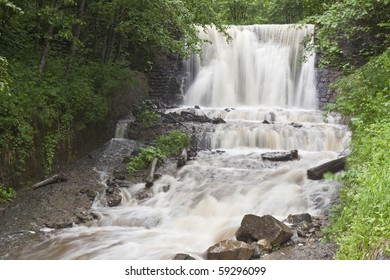 a beautiful waterfall on a mountain river