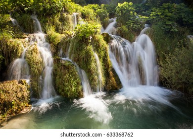 Beautiful waterfall on the Plitvice Lakes of Croatia