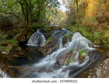 Beautiful waterfall on the river of the same name (rio da Patela) in the community of Galicia, Spain.