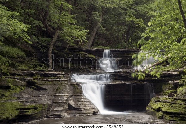 A beautiful waterfall in one of New York's many gorges in the finger lakes region. Green colors of spring  along the stream add to the beauty of the scene.