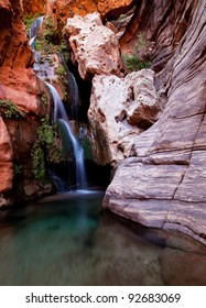Beautiful waterfall in one of the side canyons along the Colorado River in the Grand Canyon