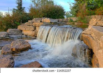 Beautiful waterfall in the park, Toronto, Canada.