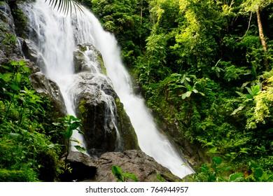 beautiful waterfall. Punyaban Waterfall at Mueang Ranong District, Ranong , Thailand