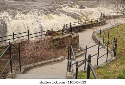 Beautiful waterfall with raging, powerful water.