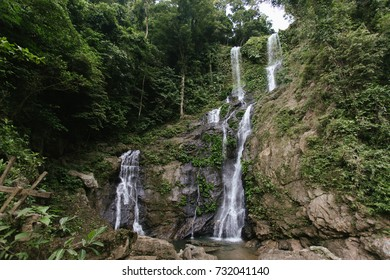 Beautiful waterfall in rain forest, landscape photo Tamaraw waterfall in Mindoro, Philippines
