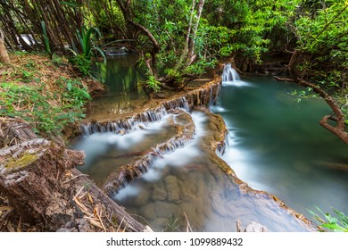 Beautiful waterfall in rainforest, Kanchanaburi province, Southeast asia, Thailand