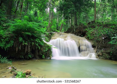 Beautiful waterfall in rainforest , Pawai Waterfall in Tropical rain forest of Thailand , water fall in deep forest of  Phrae province Thailand .