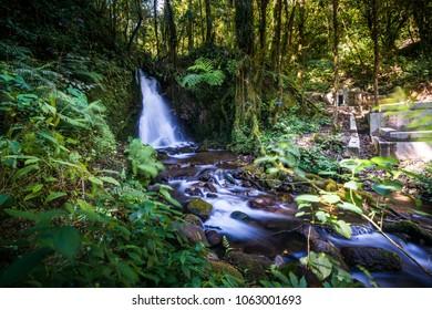 Beautiful Waterfall at Ranamese Lake in Flores Island