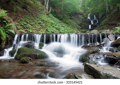 beautiful waterfall scene, ukraine carpathian shipot waterfall