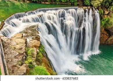 Beautiful Waterfall in Shifen Waterfall, Shifen waterfall is located at Pingxi township in Taipei, Taiwan, Long Exposure