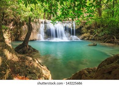 Beautiful Waterfall in Srinakarin Dam National Park , Kanchanaburi Province , Thailand