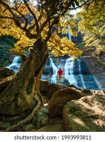Beautiful waterfall in Sukabumi Indonesia. Sodong waterfall with startrail at night, Cikanteh waterfall in the sunny morning.