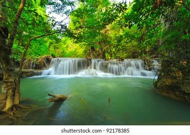 Beautiful waterfall in in thai national park, Kanjanaburi Thailand.