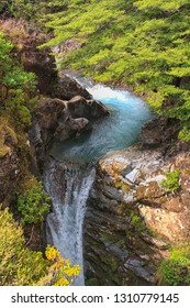 Beautiful waterfall in Tongariro in New Zealand