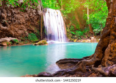 Beautiful Waterfall with tree and forest in Erawan National Park Kanchanaburi Thailand