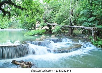 Beautiful Waterfall and Tree in Kusuma Resort at Ratchaburi Thailand