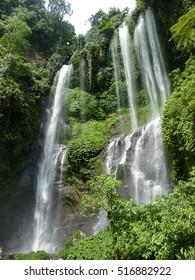 Beautiful waterfall view landscape panorama, Sekumpul Waterfall. Bali island Indonesia