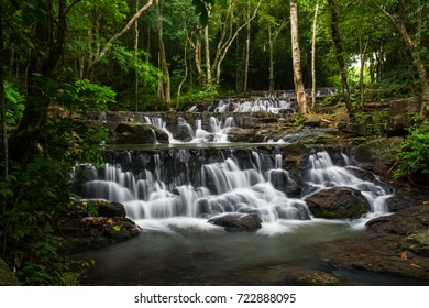 Beautiful waterfalls in green forest at THAILAND