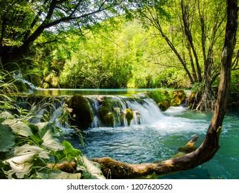 Beautiful waterfalls in Plitvice Lakes National Park. Croatia