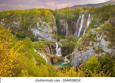 Beautiful waterfalls at sunset, Plitvice Lakes National Park, Croatia