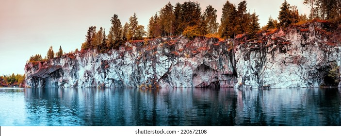 Beautiful water-filled quarry.