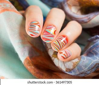 Beautiful watermarble nail art design, manicure