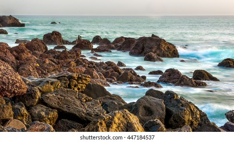 The beautiful waters of the Atlantic ocean with its rocky coastline near the City of Dakar in Senegal
