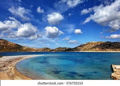Beautiful waters at the beach of Agios Pavlos, Aegiali, in Amorgos island, Greece
